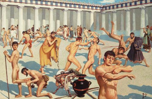 Ancient Greek athletes practice their skills.