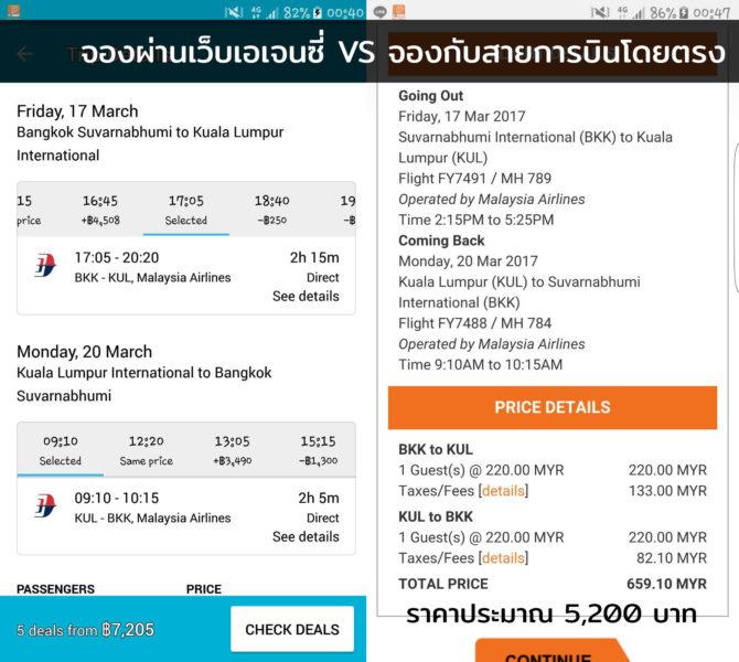 ตัวอย่างการเช็คการกดหลายๆแบบ ด้านซ้ายคือการจองผ่าน Skyscanner ซึ่งปกติจะมีเทียบราคาจากหลายๆที่ให้ ส่วนด้านขวาคือจองผ่าน Firefly สายการบินลูกของ Malaysia ซึ่งครั้งนี้กลายเป็นจองโดยตรงราคาถูกกว่า เส้นทางบินเดียวกัน เช็คราคาต่างกันแค่ 7 นาทีเท่านั้น