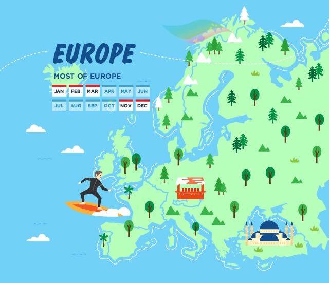 ตัวอย่างช่วงโลว์ซีซั่นของทวีปยุโรป คือเดือน พ.ย. ถึง มี.ค. เป็นช่วงอากาศหนาว ราคาตั๋วราคาทัวร์ก็จะถูกลง คนน้อย แถมได้เห็นบรรยากาศโรแมนติกแห่งเมืองหนาวอีกด้วย - HolidayMe