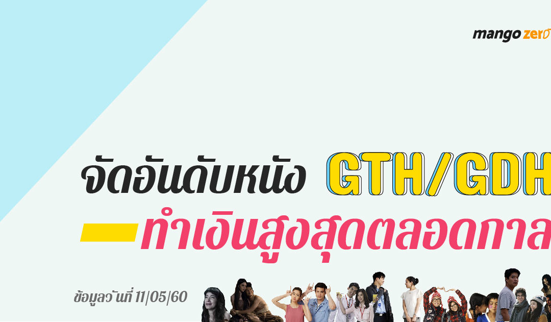 จัดอันดับหนัง GTH/GDH ทำเงินสูงสุดตลอดกาล ทะลุกว่า 100 ล้าน