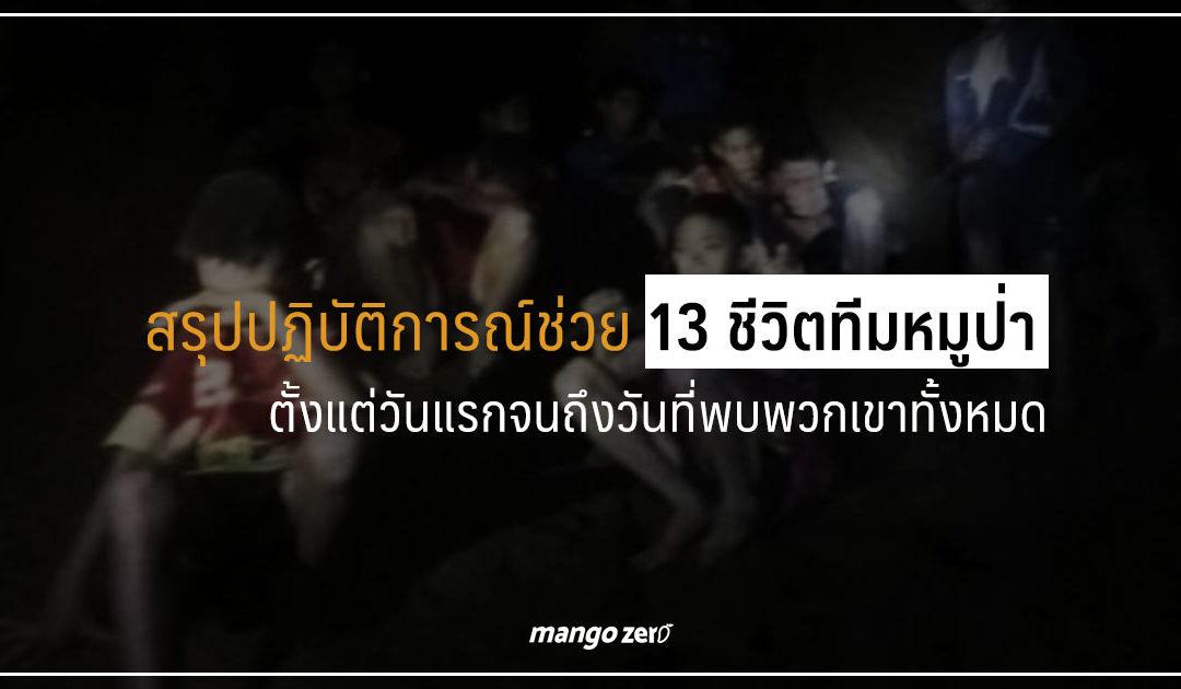 สรุปปฏิบัติการณ์ช่วย 13 ชีวิตทีมหมูป่าตั้งแต่วันแรกจนถึงวันที่พบพวกเขาทั้งหมด