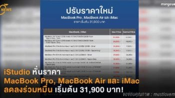 iStudio หั่นราคา MacBook Pro, MacBook Air และ iMac ลดลงร่วมหมื่น เริ่มต้น 31,900 บาท!