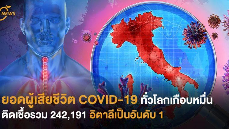 ยอดผู้เสียชีวิต COVID-19 ทั่วโลกเกือบหมื่น  ติดเชื้อรวม 242,191  อิตาลีเป็นอันดับ 1