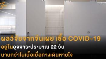 ผลวิจัยจากจีนเผย เชื้อ COVID-19อยู่ในอุจจาระประมาณ 22 วัน นานกว่าในเนื้อเยื่อทางเดินหายใจ