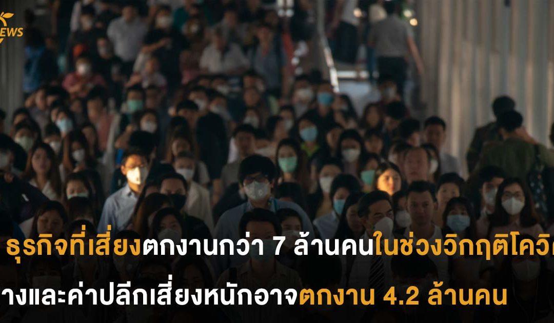 8 ธุรกิจที่เสี่ยงตกงานกว่า 7 ล้านคนในช่วงวิกฤติโควิด ห้างและค่าปลีกเสี่ยงสุด อาจตกงาน 4.2 ล้านคน