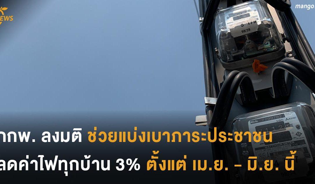 กกพ. ลงมติช่วยแบ่งเบาภาระ ลดค่าไฟทุกบ้าน 3% ตั้งแต่ เมษายน – มิถุนายน นี้