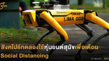 สิงคโปร์ทดลองใช้หุ่นยนต์สุนัขเพื่อเตือน Social Distancing