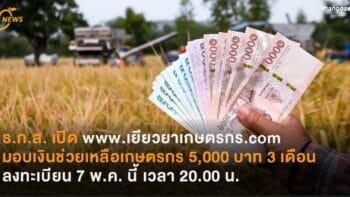 ธ.ก.ส. เตรียมเปิด www.เยียวยาเกษตรกร.com  มอบเงินช่วยเหลือเกษตรกร 5,000 บาท 3 เดือน เปิดลงทะเบียน 7 พ.ค. เวลา 20.00 น.