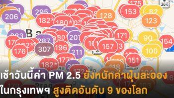 เช้านี้ค่า PM 2.5 ยังหนัก ค่าฝุ่นในกรุงเทพฯ สูงติดอันดับ 9 ของโลก