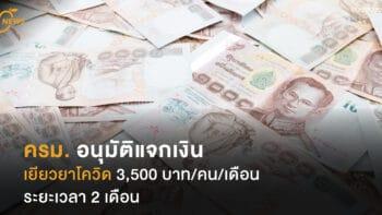 ครม. อนุมัติแจกเงิน เยียวยาโควิด 3,500 บาท/คน/เดือน ระยะเวลา 2 เดือน