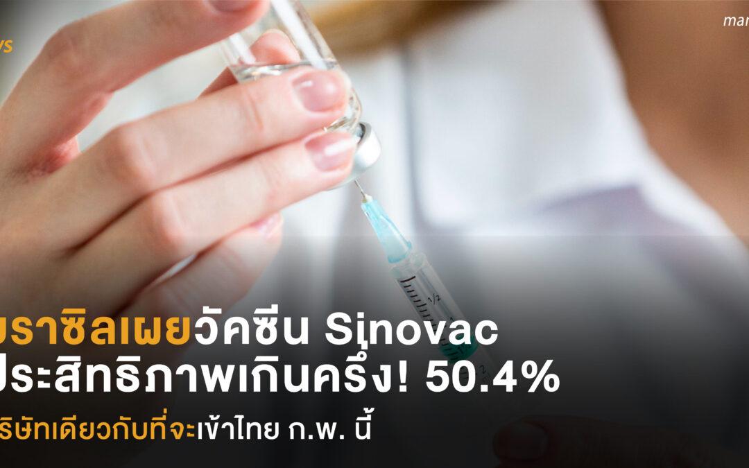 บราซิลเผยวัคซีน Sinovac ของจีน ประสิทธิภาพเกินครึ่ง 50.4% บริษัทเดียวกับที่จะนำเข้าไทย ก.พ. นี้