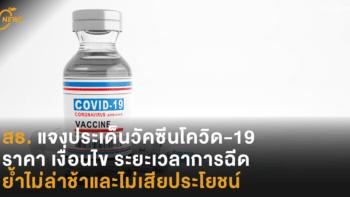 สธ.แจงประเด็นวัคซีนโควิด-19 ราคา เงื่อนไข ระยะเวลาการฉีด ย้ำไม่ล่าช้าและไม่เสียประโยชน์