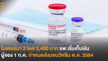 โมเดอร์นา 2 โดส 3,400 บาท  รพ.เริ่มเก็บเงินผู้จอง 1 ก.ค.  กำหนดส่งมอบวัคซีน ต.ค. 2564