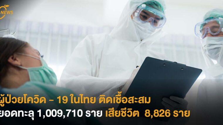 ผู้ป่วยโควิด - 19 ในไทยติดเชื้อสะสมยอดทะลุ 1,009,710 ราย